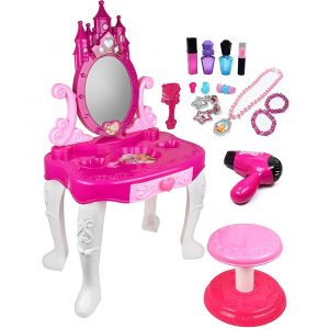 Vanity Mirror and Stool with Accessories