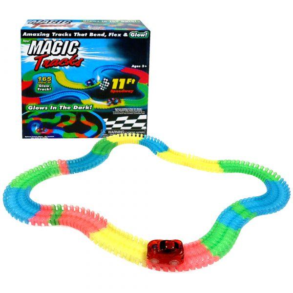 Magic Tracks 11ft Glow in the Dark LED Light-Up Race Car Set 165pcs 1 Race Car